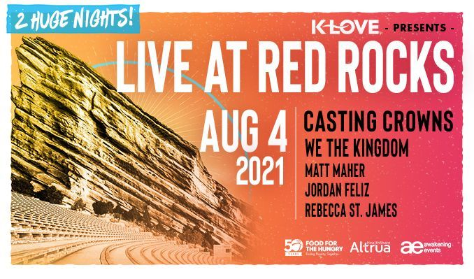 Casting Crowns 8/4 tickets at Red Rocks Amphitheatre in Morrison