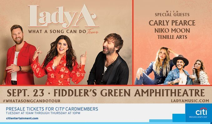 Lady A tickets at Fiddler's Green Amphitheatre in Greenwood Village