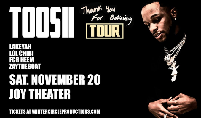 Toosii tickets at Joy Theater in New Orleans