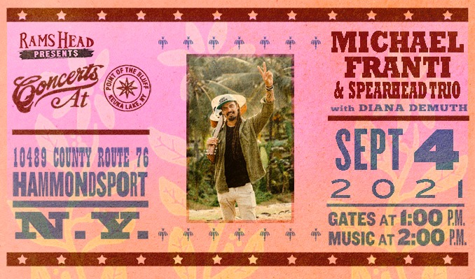 Michael Franti & Spearhead Trio tickets at Point of the Bluff in Hammondsport