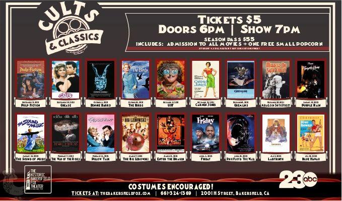 Cults & Classics 2021/2022 Season Pass tickets at Historic Bakersfield Fox Theater in Bakersfield